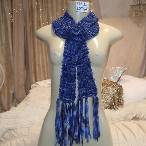 Accessories - Exquisite shimmering blue silver purple scarf